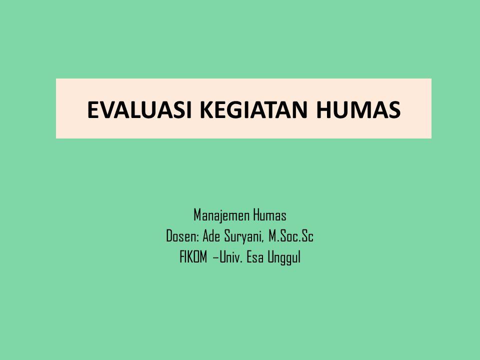EVALUASI KEGIATAN HUMAS Manajemen Humas Dosen: Ade Suryani, M.Soc.Sc FIKOM –Univ. Esa Unggul