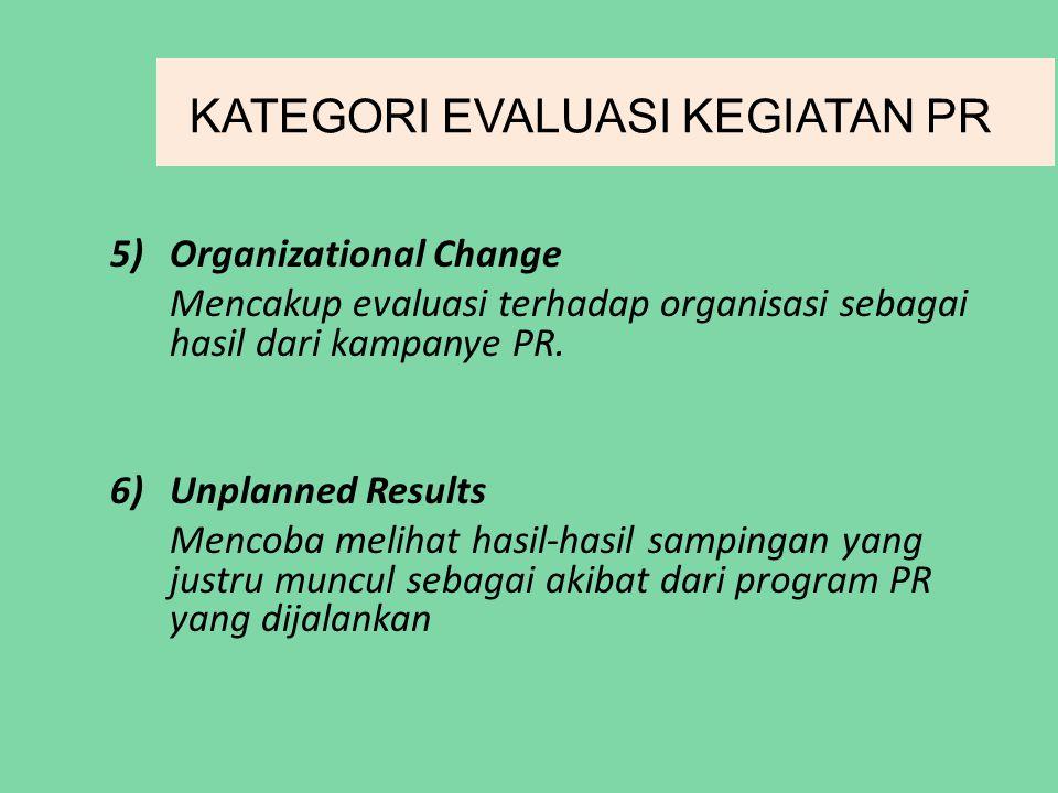 KATEGORI EVALUASI KEGIATAN PR 5)Organizational Change Mencakup evaluasi terhadap organisasi sebagai hasil dari kampanye PR.