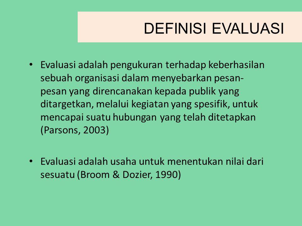 DEFINISI EVALUASI Evaluasi adalah pengukuran terhadap keberhasilan sebuah organisasi dalam menyebarkan pesan- pesan yang direncanakan kepada publik yang ditargetkan, melalui kegiatan yang spesifik, untuk mencapai suatu hubungan yang telah ditetapkan (Parsons, 2003) Evaluasi adalah usaha untuk menentukan nilai dari sesuatu (Broom & Dozier, 1990)