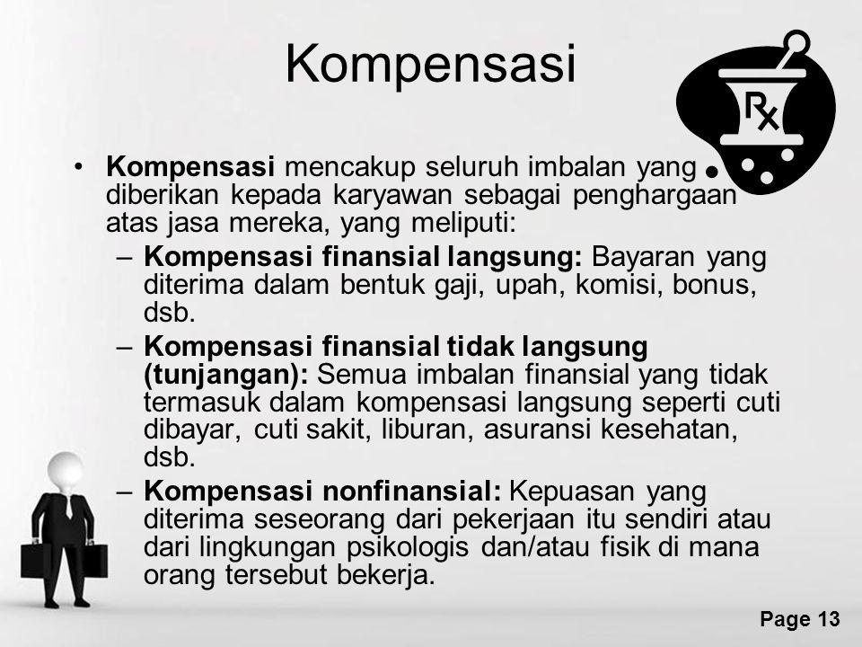 Free Powerpoint Templates Page 13 Kompensasi Kompensasi mencakup seluruh imbalan yang diberikan kepada karyawan sebagai penghargaan atas jasa mereka, yang meliputi: –Kompensasi finansial langsung: Bayaran yang diterima dalam bentuk gaji, upah, komisi, bonus, dsb.