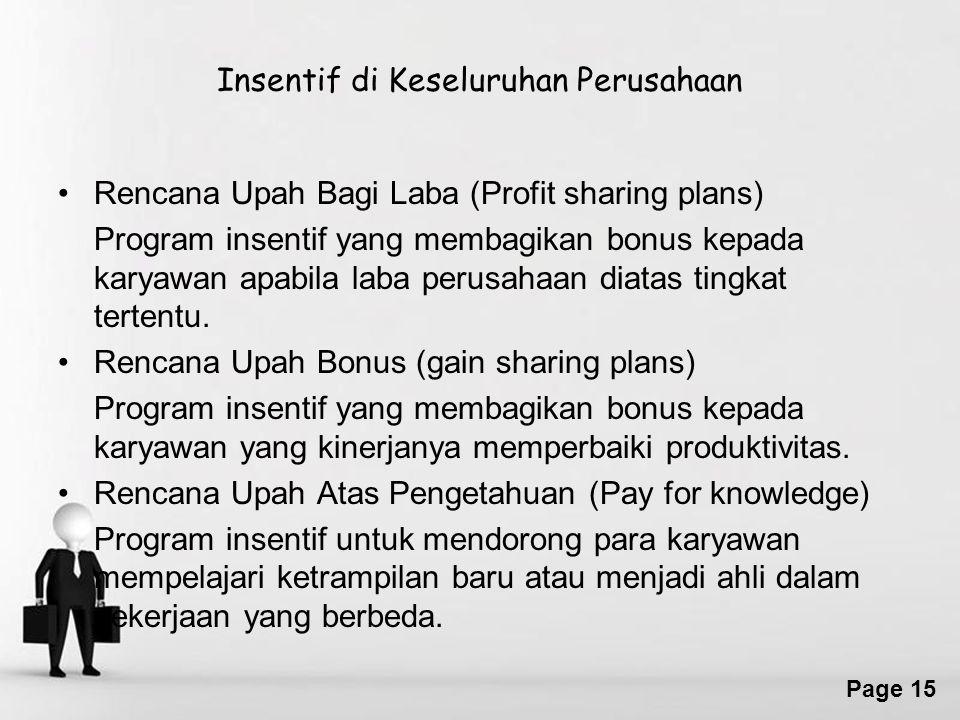 Free Powerpoint Templates Page 15 Insentif di Keseluruhan Perusahaan Rencana Upah Bagi Laba (Profit sharing plans) Program insentif yang membagikan bonus kepada karyawan apabila laba perusahaan diatas tingkat tertentu.
