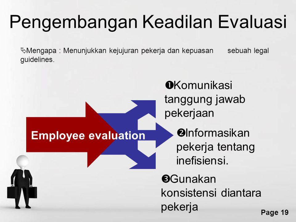 Free Powerpoint Templates Page 19 Pengembangan Keadilan Evaluasi  Mengapa : Menunjukkan kejujuran pekerja dan kepuasan sebuah legal guidelines.  Kom