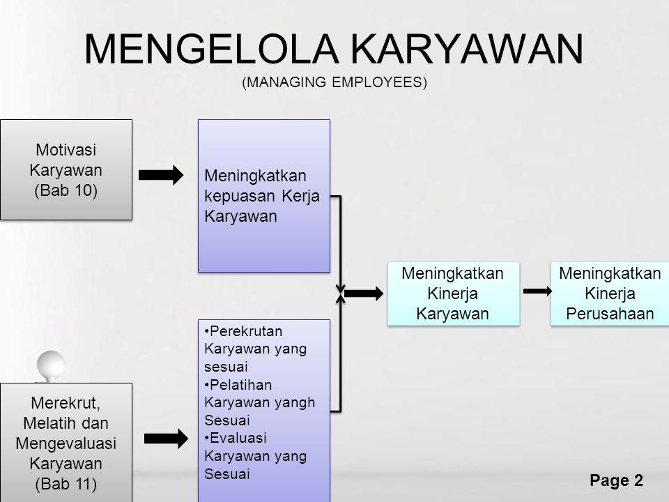 Free Powerpoint Templates Page 2 MENGELOLA KARYAWAN (MANAGING EMPLOYEES) Motivasi Karyawan (Bab 10) Motivasi Karyawan (Bab 10) Meningkatkan kepuasan K