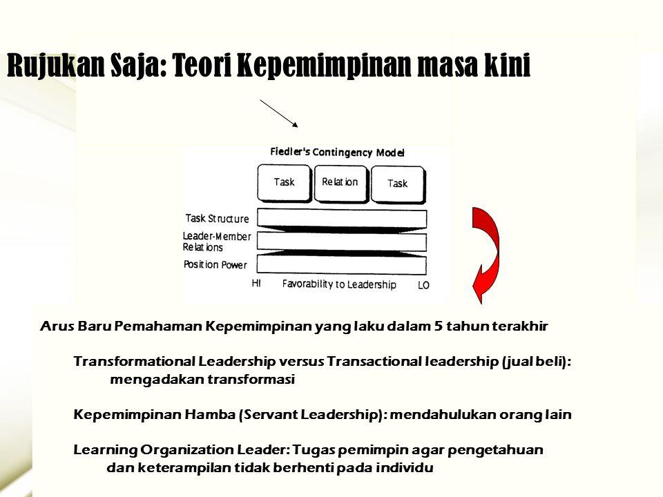 6 Arus Baru Pemahaman Kepemimpinan yang laku dalam 5 tahun terakhir Transformational Leadership versus Transactional leadership (jual beli): mengadaka
