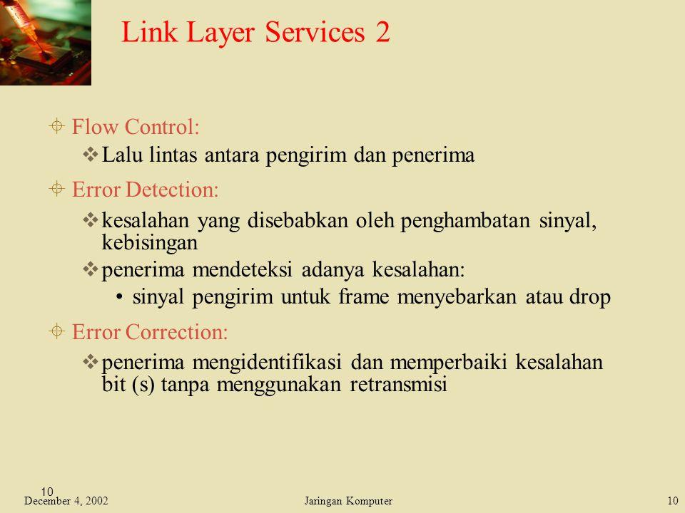 December 4, 2002Jaringan Komputer10 Link Layer Services 2  Flow Control:  Lalu lintas antara pengirim dan penerima  Error Detection:  kesalahan ya