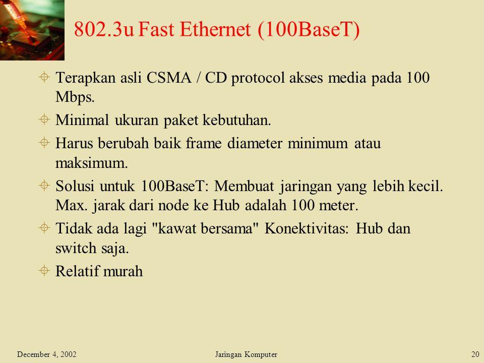 December 4, 2002Jaringan Komputer20 802.3u Fast Ethernet (100BaseT)  Terapkan asli CSMA / CD protocol akses media pada 100 Mbps.  Minimal ukuran pak