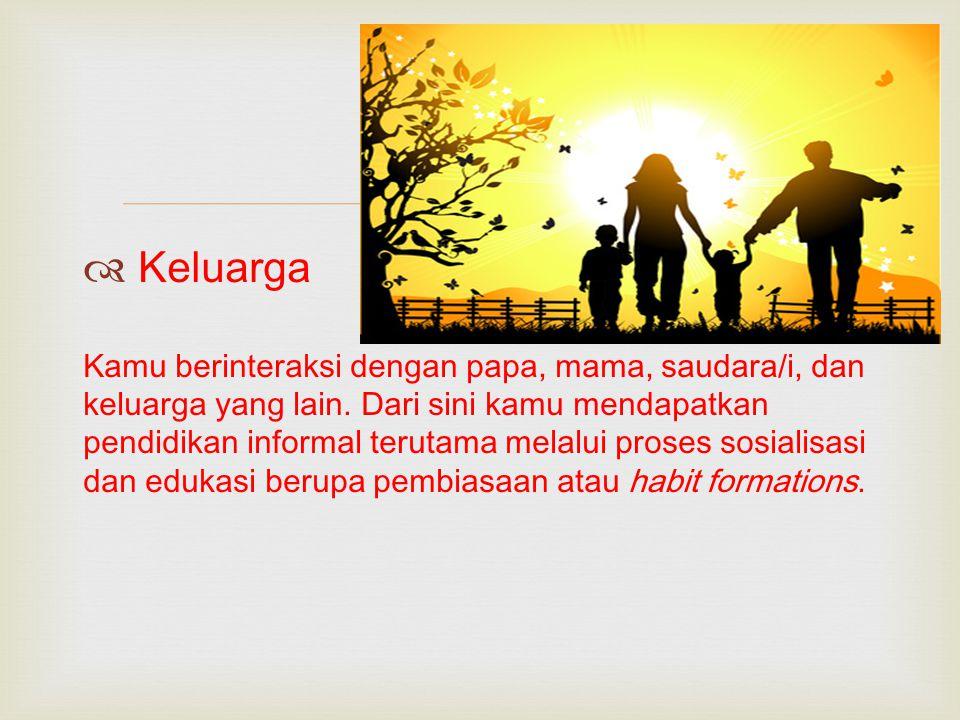   Keluarga Kamu berinteraksi dengan papa, mama, saudara/i, dan keluarga yang lain. Dari sini kamu mendapatkan pendidikan informal terutama melalui p