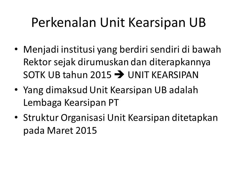 Perkenalan Unit Kearsipan UB Menjadi institusi yang berdiri sendiri di bawah Rektor sejak dirumuskan dan diterapkannya SOTK UB tahun 2015  UNIT KEARS