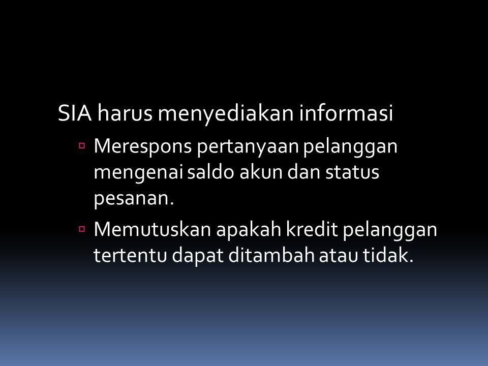 SIA harus menyediakan informasi  Merespons pertanyaan pelanggan mengenai saldo akun dan status pesanan.  Memutuskan apakah kredit pelanggan tertentu