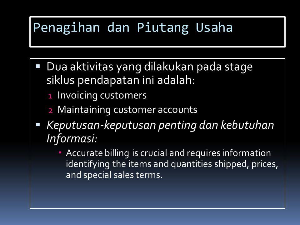 Penagihan dan Piutang Usaha  Dua aktivitas yang dilakukan pada stage siklus pendapatan ini adalah: 1 Invoicing customers 2 Maintaining customer accou