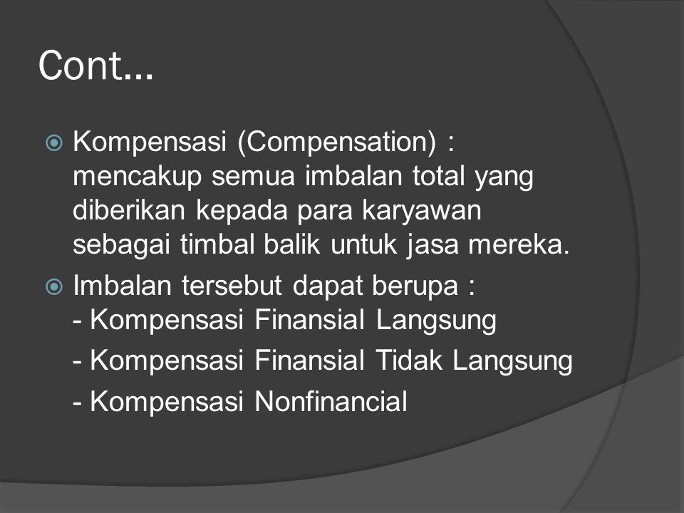Cont…  Kompensasi (Compensation) : mencakup semua imbalan total yang diberikan kepada para karyawan sebagai timbal balik untuk jasa mereka.  Imbalan