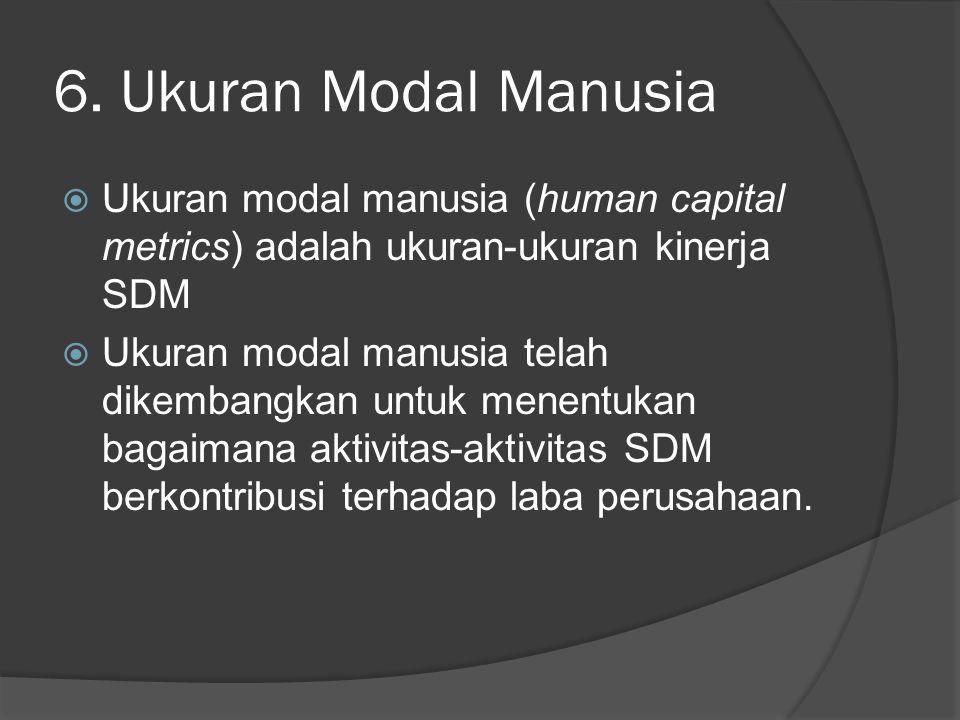 6. Ukuran Modal Manusia  Ukuran modal manusia (human capital metrics) adalah ukuran-ukuran kinerja SDM  Ukuran modal manusia telah dikembangkan untu