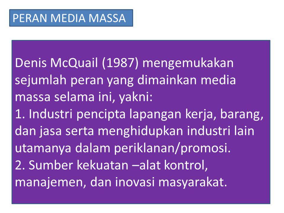 Denis McQuail (1987) mengemukakan sejumlah peran yang dimainkan media massa selama ini, yakni: 1.