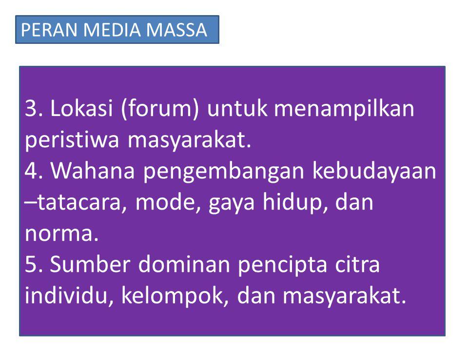 3.Lokasi (forum) untuk menampilkan peristiwa masyarakat.