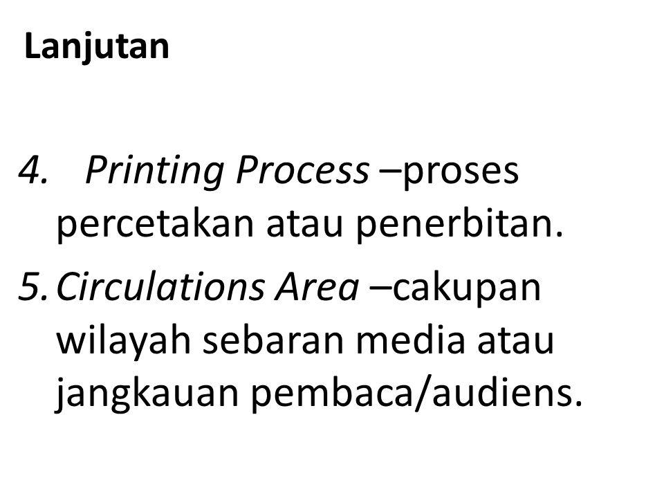 Lanjutan 4.Printing Process –proses percetakan atau penerbitan.