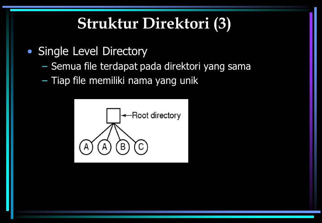 Struktur Direktori (3) Single Level Directory –Semua file terdapat pada direktori yang sama –Tiap file memiliki nama yang unik