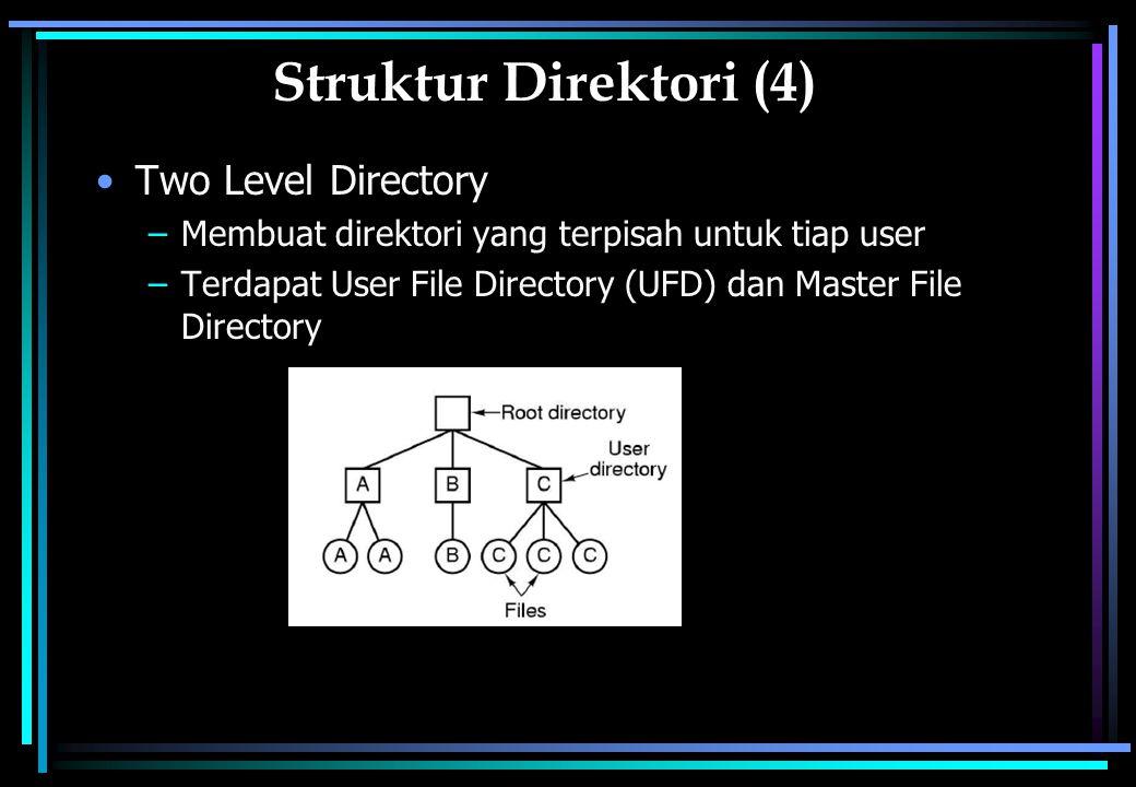 Struktur Direktori (4) Two Level Directory –Membuat direktori yang terpisah untuk tiap user –Terdapat User File Directory (UFD) dan Master File Directory