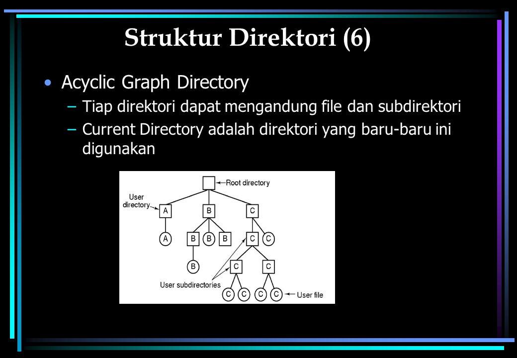 Struktur Direktori (6) Acyclic Graph Directory –Tiap direktori dapat mengandung file dan subdirektori –Current Directory adalah direktori yang baru-baru ini digunakan
