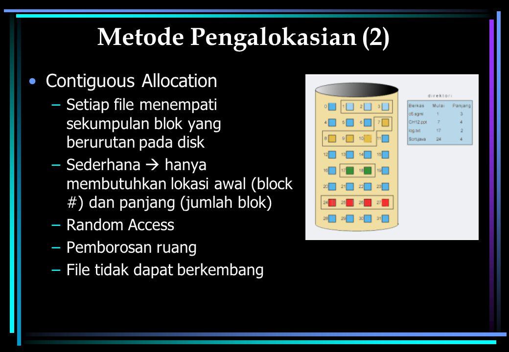 Metode Pengalokasian (2) Contiguous Allocation –Setiap file menempati sekumpulan blok yang berurutan pada disk –Sederhana  hanya membutuhkan lokasi awal (block #) dan panjang (jumlah blok) –Random Access –Pemborosan ruang –File tidak dapat berkembang