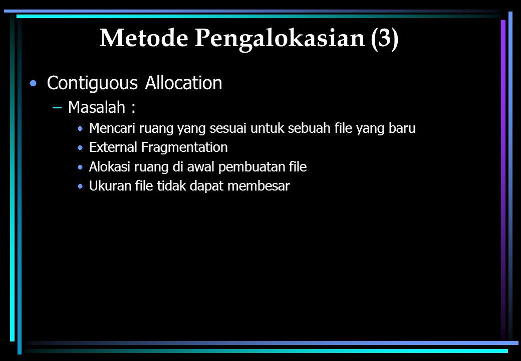 Metode Pengalokasian (3) Contiguous Allocation –Masalah : Mencari ruang yang sesuai untuk sebuah file yang baru External Fragmentation Alokasi ruang di awal pembuatan file Ukuran file tidak dapat membesar