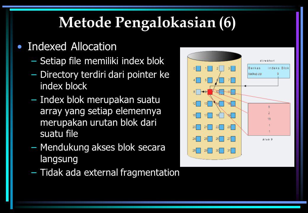 Metode Pengalokasian (6) Indexed Allocation –Setiap file memiliki index blok –Directory terdiri dari pointer ke index block –Index blok merupakan suatu array yang setiap elemennya merupakan urutan blok dari suatu file –Mendukung akses blok secara langsung –Tidak ada external fragmentation