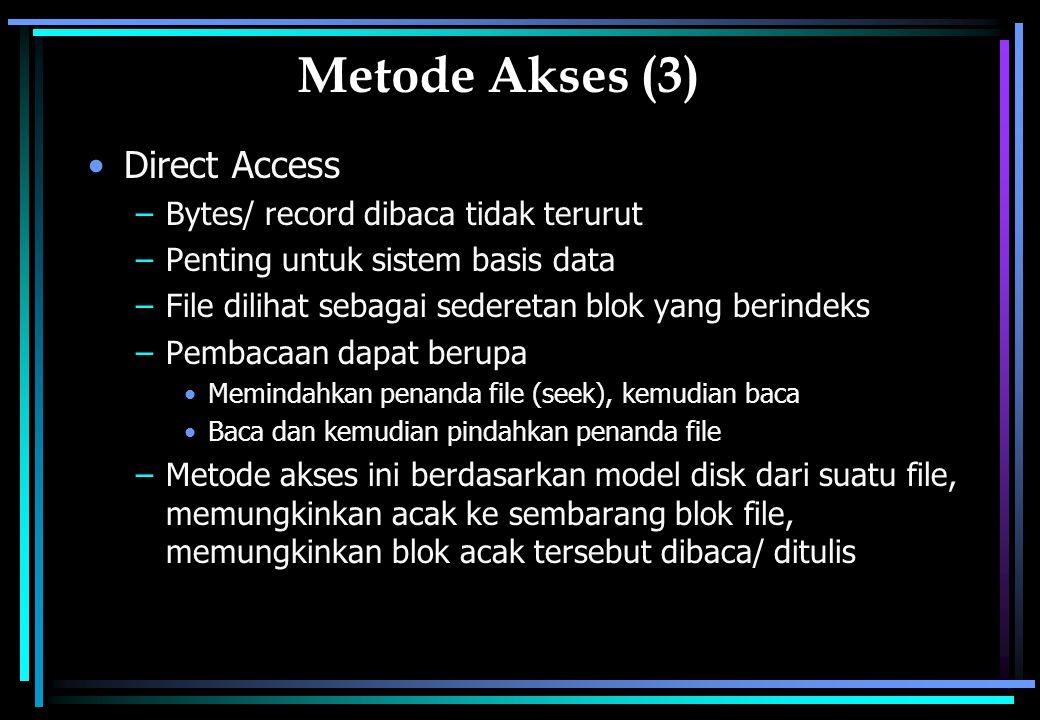 Metode Akses (3) Direct Access –Bytes/ record dibaca tidak terurut –Penting untuk sistem basis data –File dilihat sebagai sederetan blok yang berindeks –Pembacaan dapat berupa Memindahkan penanda file (seek), kemudian baca Baca dan kemudian pindahkan penanda file –Metode akses ini berdasarkan model disk dari suatu file, memungkinkan acak ke sembarang blok file, memungkinkan blok acak tersebut dibaca/ ditulis