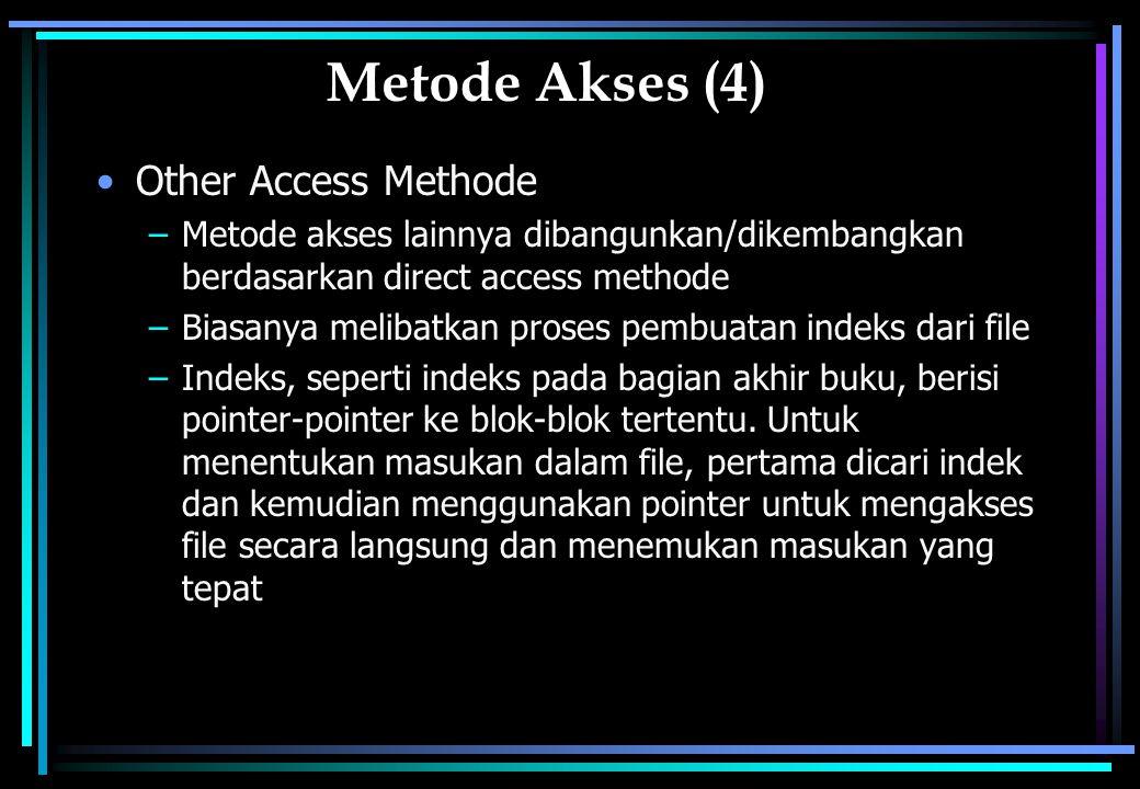 Metode Akses (4) Other Access Methode –Metode akses lainnya dibangunkan/dikembangkan berdasarkan direct access methode –Biasanya melibatkan proses pembuatan indeks dari file –Indeks, seperti indeks pada bagian akhir buku, berisi pointer-pointer ke blok-blok tertentu.