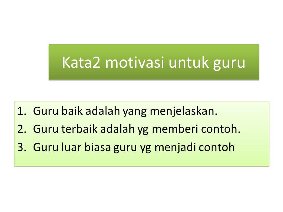 Kata2 motivasi untuk guru 1.Guru baik adalah yang menjelaskan.