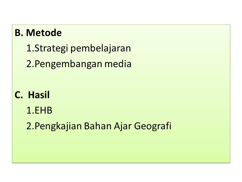B.Metode 1.Strategi pembelajaran 2.Pengembangan media C.