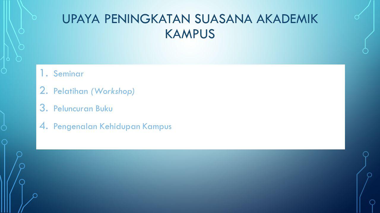 UPAYA PENINGKATAN SUASANA AKADEMIK KAMPUS 1. Seminar 2. Pelatihan (Workshop) 3. Peluncuran Buku 4. Pengenalan Kehidupan Kampus