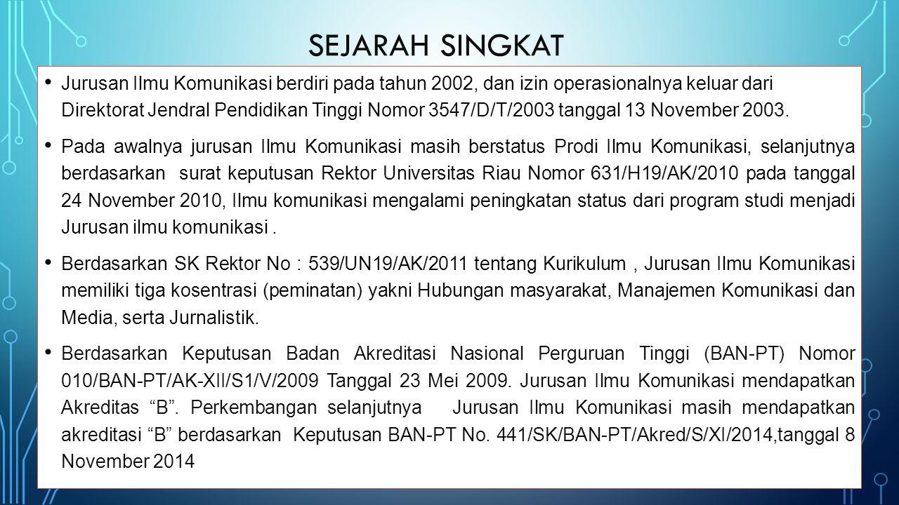 Jurusan Ilmu Komunikasi berdiri pada tahun 2002, dan izin operasionalnya keluar dari Direktorat Jendral Pendidikan Tinggi Nomor 3547/D/T/2003 tanggal