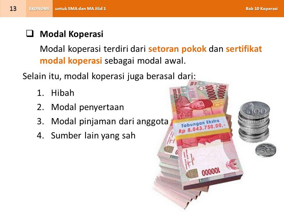 untuk SMA dan MA Jilid 1 Bab 10 Koperasi EKONOMI 13  Modal Koperasi Modal koperasi terdiri dari setoran pokok dan sertifikat modal koperasi sebagai modal awal.