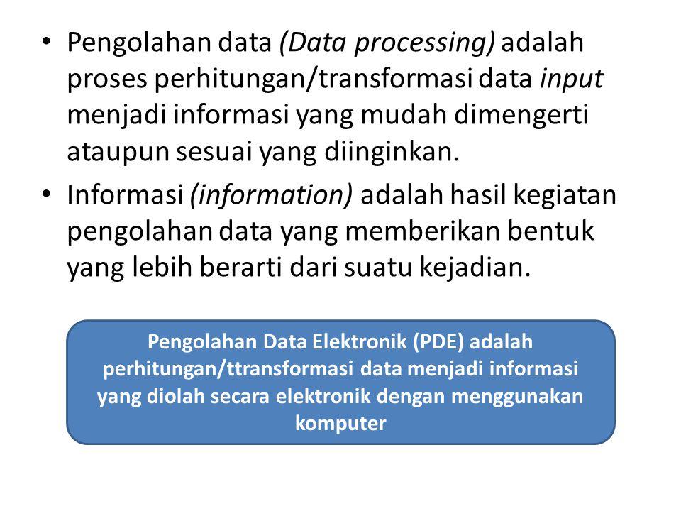 Pengolahan data (Data processing) adalah proses perhitungan/transformasi data input menjadi informasi yang mudah dimengerti ataupun sesuai yang diingi