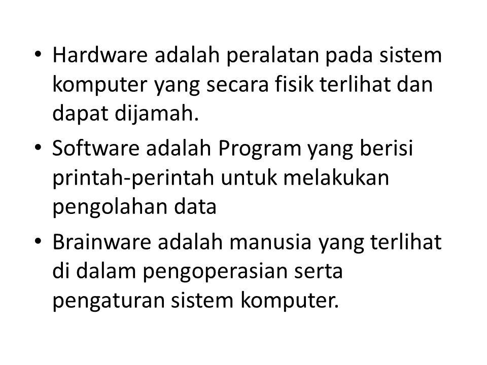 Hardware adalah peralatan pada sistem komputer yang secara fisik terlihat dan dapat dijamah. Software adalah Program yang berisi printah-perintah untu