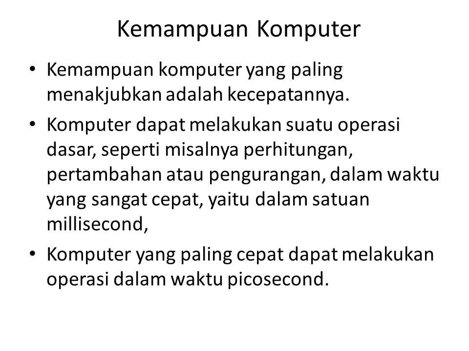 Kemampuan Komputer Kemampuan komputer yang paling menakjubkan adalah kecepatannya. Komputer dapat melakukan suatu operasi dasar, seperti misalnya perh