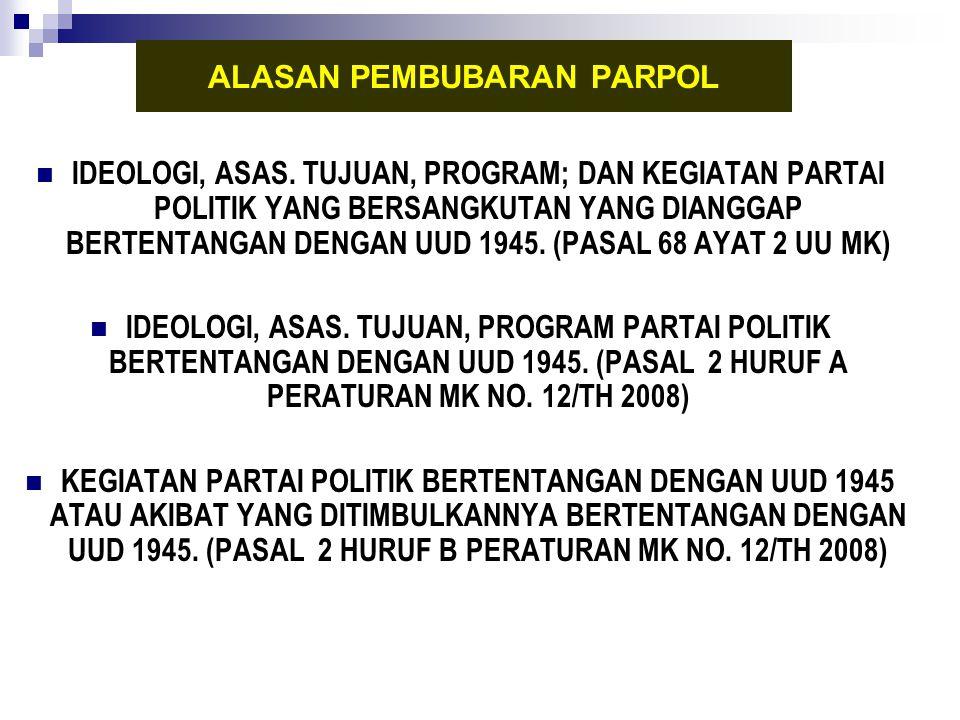 IDEOLOGI, ASAS. TUJUAN, PROGRAM; DAN KEGIATAN PARTAI POLITIK YANG BERSANGKUTAN YANG DIANGGAP BERTENTANGAN DENGAN UUD 1945. (PASAL 68 AYAT 2 UU MK) IDE
