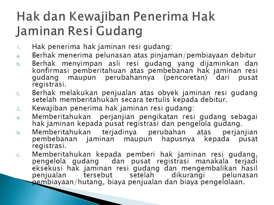 1.Hak penerima hak jaminan resi gudang: a.
