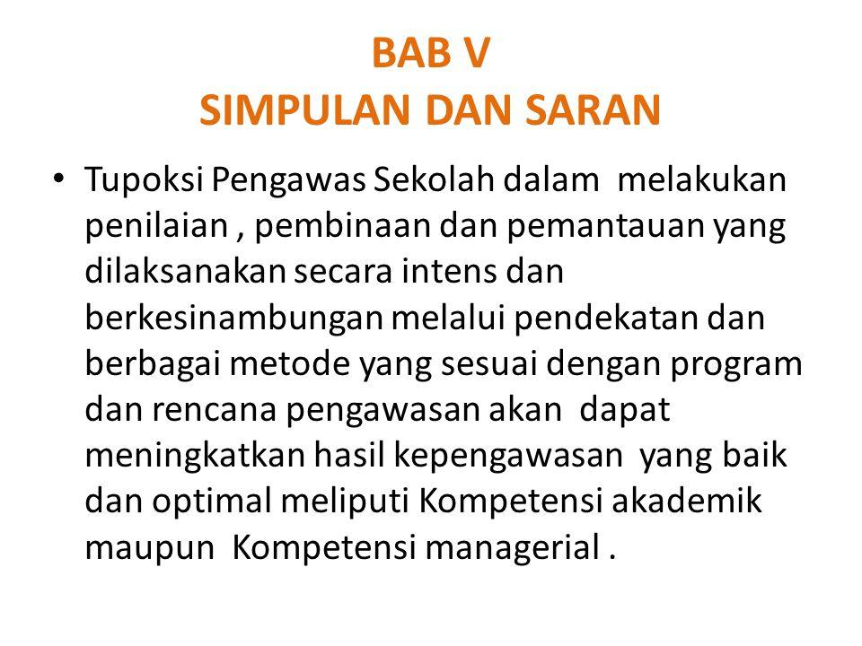 BAB V SIMPULAN DAN SARAN Tupoksi Pengawas Sekolah dalam melakukan penilaian, pembinaan dan pemantauan yang dilaksanakan secara intens dan berkesinambu