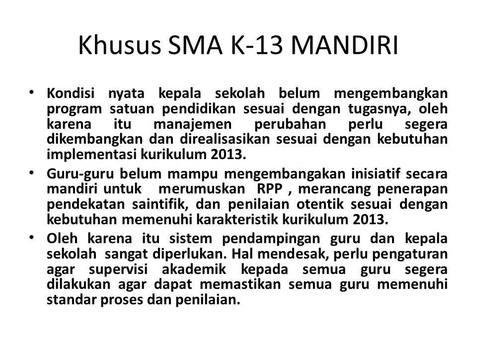 Khusus SMA K-13 MANDIRI Kondisi nyata kepala sekolah belum mengembangkan program satuan pendidikan sesuai dengan tugasnya, oleh karena itu manajemen p