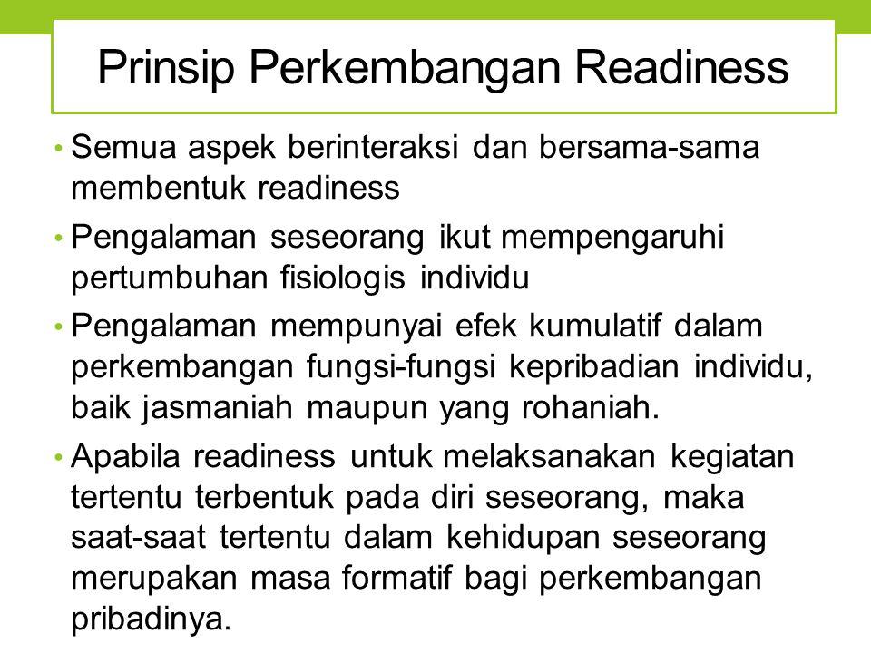 Prinsip Perkembangan Readiness Semua aspek berinteraksi dan bersama-sama membentuk readiness Pengalaman seseorang ikut mempengaruhi pertumbuhan fisiol