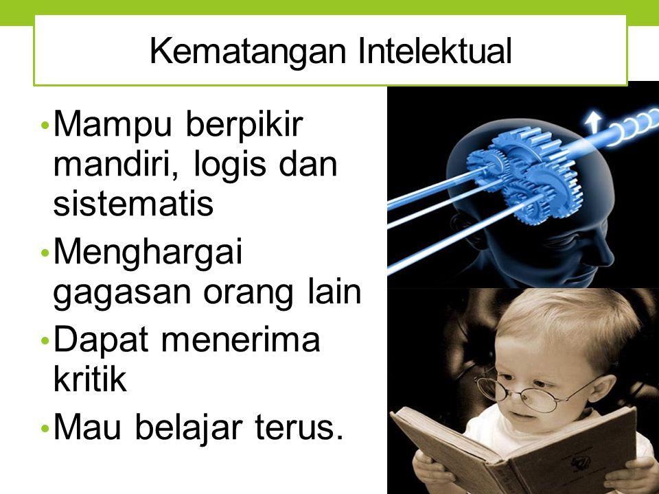 Mampu berpikir mandiri, logis dan sistematis Menghargai gagasan orang lain Dapat menerima kritik Mau belajar terus. Kematangan Intelektual