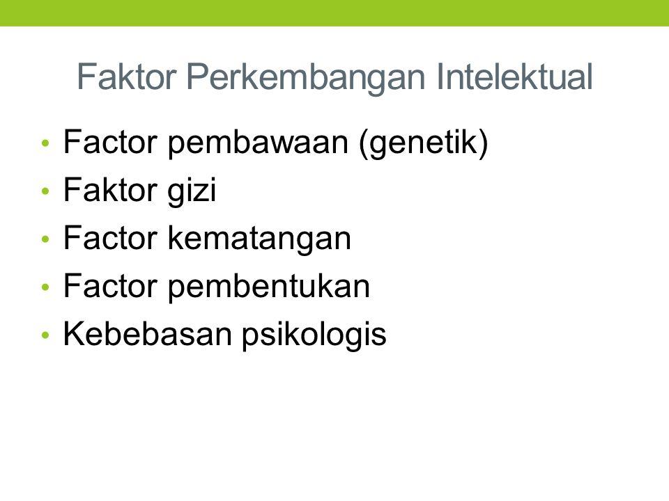 Faktor Perkembangan Intelektual Factor pembawaan (genetik) Faktor gizi Factor kematangan Factor pembentukan Kebebasan psikologis