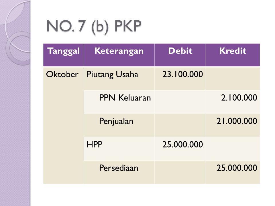 NO. 7 (b) PKP TanggalKeteranganDebitKredit OktoberPiutang Usaha23.100.000 PPN Keluaran2.100.000 Penjualan21.000.000 HPP25.000.000 Persediaan25.000.000