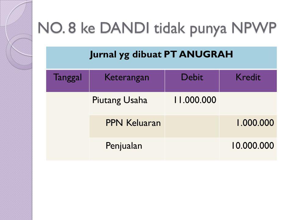 NO. 8 ke DANDI tidak punya NPWP Jurnal yg dibuat PT ANUGRAH TanggalKeteranganDebitKredit Piutang Usaha11.000.000 PPN Keluaran1.000.000 Penjualan10.000