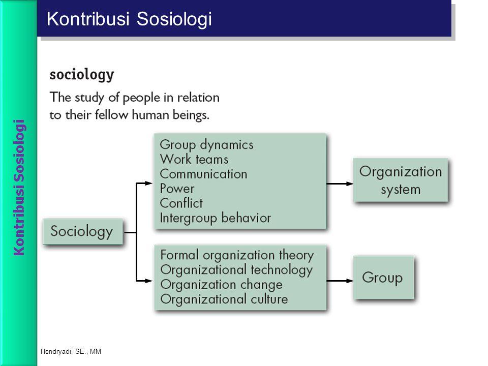 Kontribusi Sosiologi Hendryadi, SE., MM Kontribusi Sosiologi