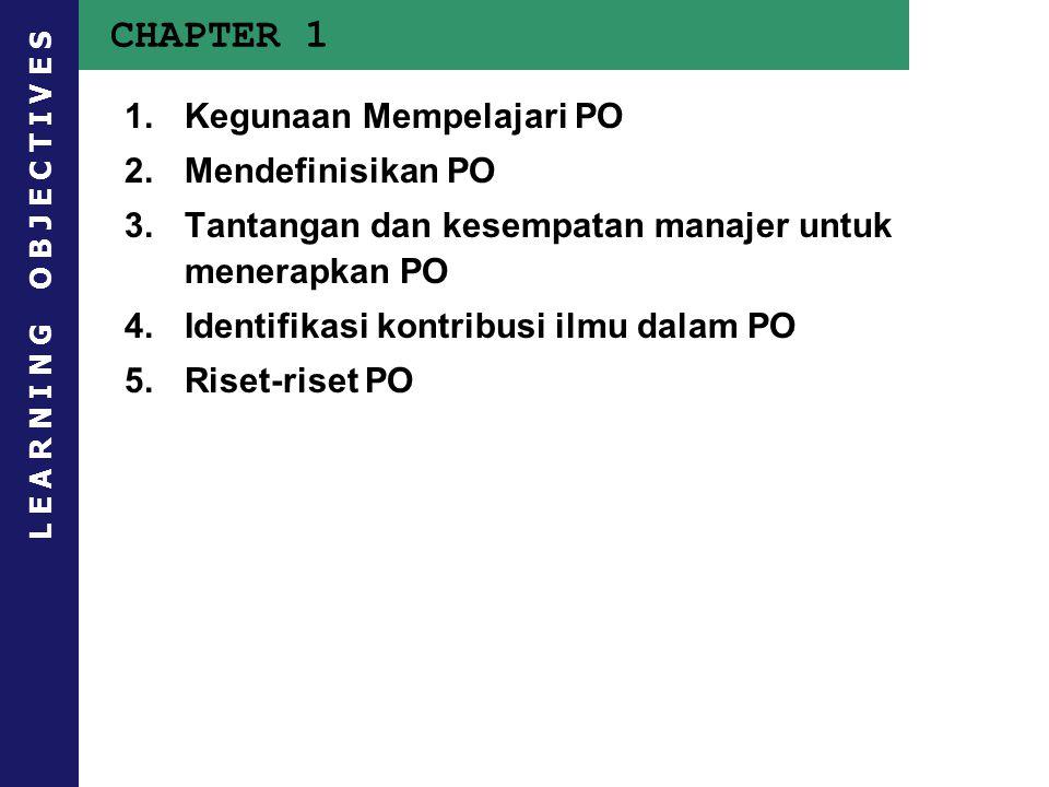 CHAPTER 1 1.Kegunaan Mempelajari PO 2.Mendefinisikan PO 3.Tantangan dan kesempatan manajer untuk menerapkan PO 4.Identifikasi kontribusi ilmu dalam PO