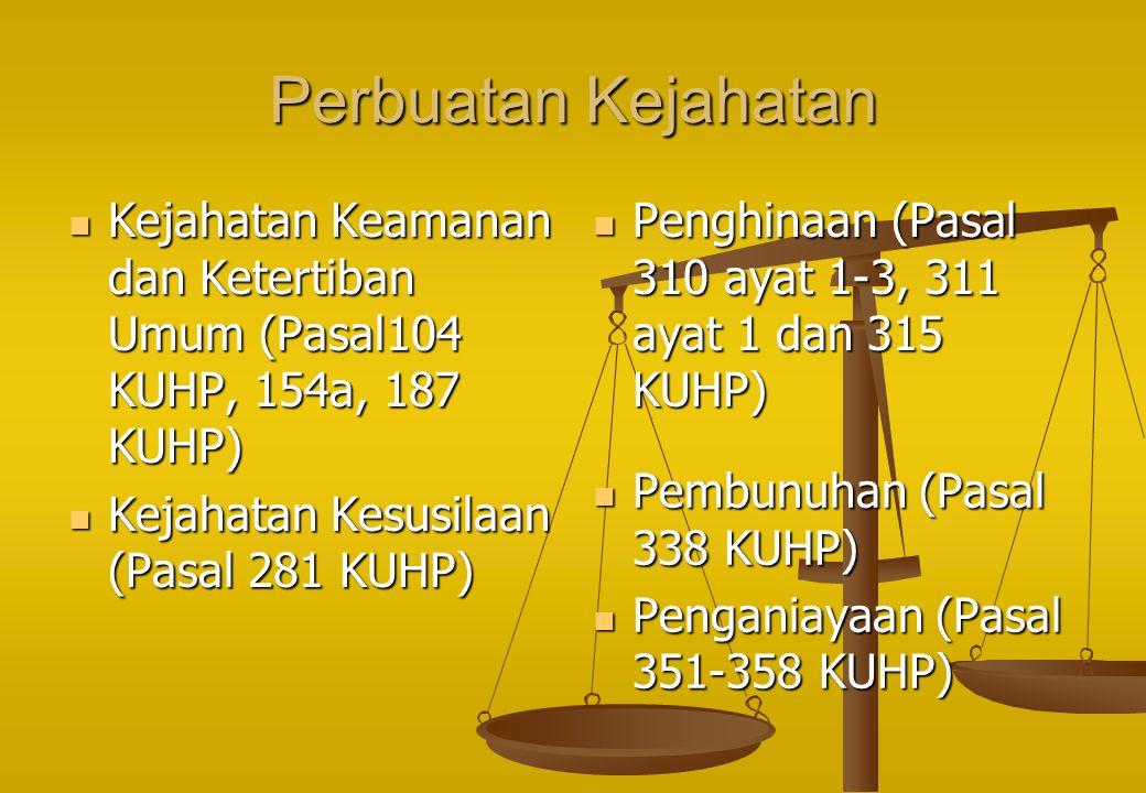 Perbuatan Kejahatan Kejahatan Keamanan dan Ketertiban Umum (Pasal104 KUHP, 154a, 187 KUHP) Kejahatan Keamanan dan Ketertiban Umum (Pasal104 KUHP, 154a, 187 KUHP) Kejahatan Kesusilaan (Pasal 281 KUHP) Kejahatan Kesusilaan (Pasal 281 KUHP) Penghinaan (Pasal 310 ayat 1-3, 311 ayat 1 dan 315 KUHP) Pembunuhan (Pasal 338 KUHP) Penganiayaan (Pasal 351-358 KUHP)