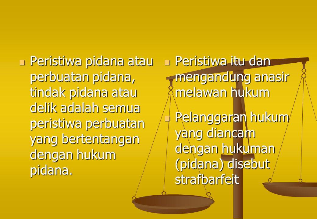 Peristiwa pidana atau perbuatan pidana, tindak pidana atau delik adalah semua peristiwa perbuatan yang bertentangan dengan hukum pidana.