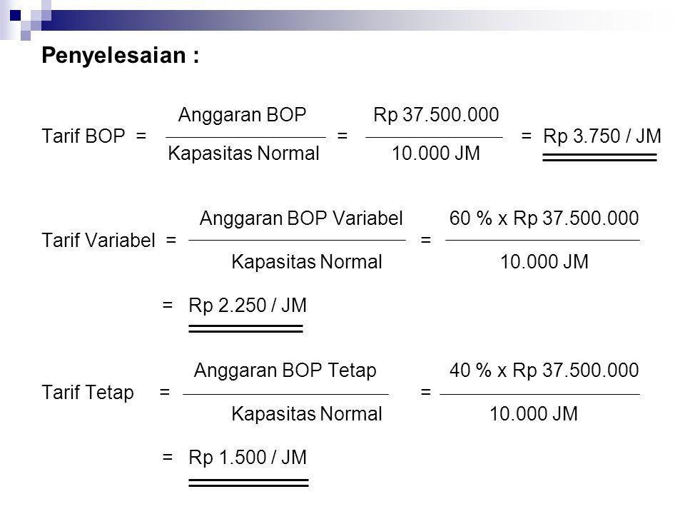 Penyelesaian : Anggaran BOP Rp 37.500.000 Tarif BOP = == Rp 3.750 / JM Kapasitas Normal 10.000 JM Anggaran BOP Variabel 60 % x Rp 37.500.000 Tarif Var