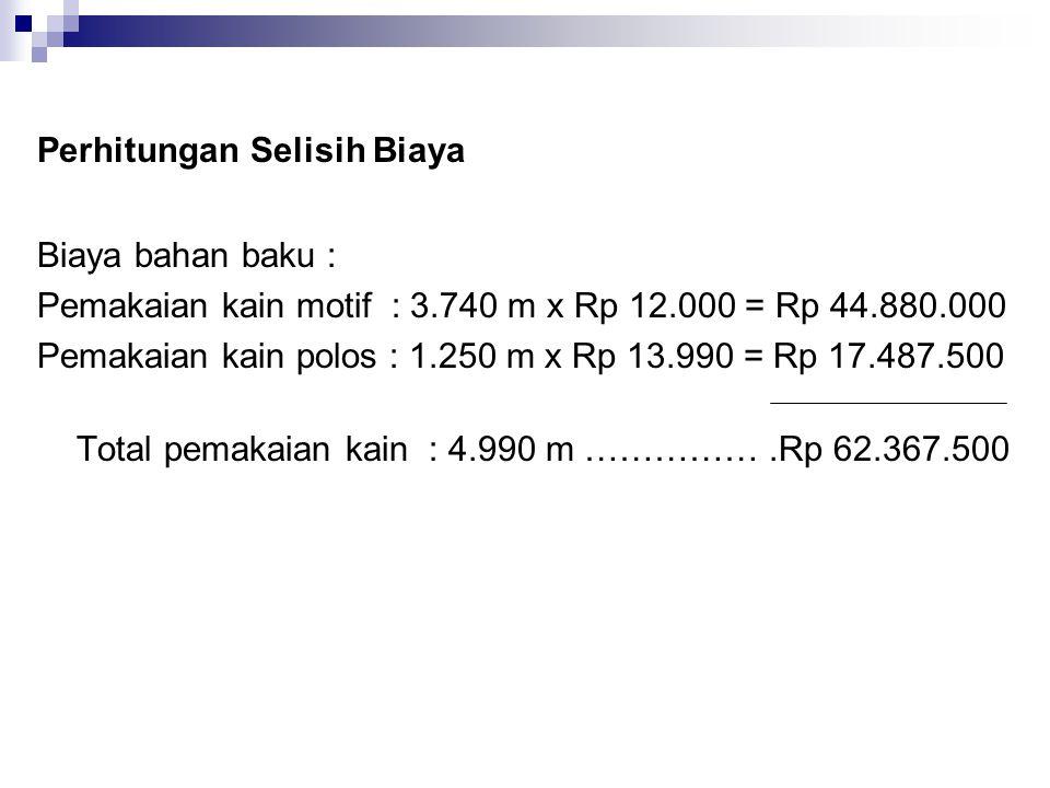 Perhitungan Selisih Biaya Biaya bahan baku : Pemakaian kain motif : 3.740 m x Rp 12.000 = Rp 44.880.000 Pemakaian kain polos : 1.250 m x Rp 13.990 = R